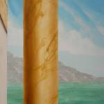 Détail: colonne en jaune siennesur fond paysage marin
