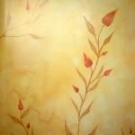 Panneau patine et motifs peints